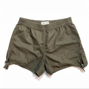 Madewell olive green cotton high waisted shorts